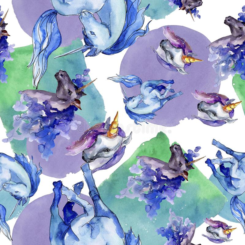 逗人喜爱的独角兽马 童话儿童晚安 水彩背景例证集合 无缝的背景模式 库存例证