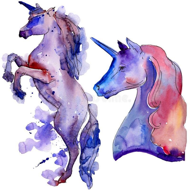 逗人喜爱的独角兽马 背景的,纹理,封皮样式被隔绝的水彩画野生动物 库存例证
