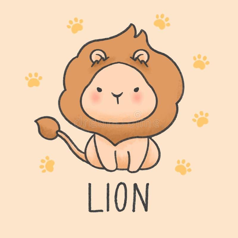 逗人喜爱的狮子动画片手拉的样式 向量例证