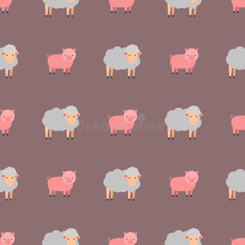 逗人喜爱的猪动画片动物无缝的样式背景农厂哺乳动物的国内船小猪字符传染媒介例证 皇族释放例证