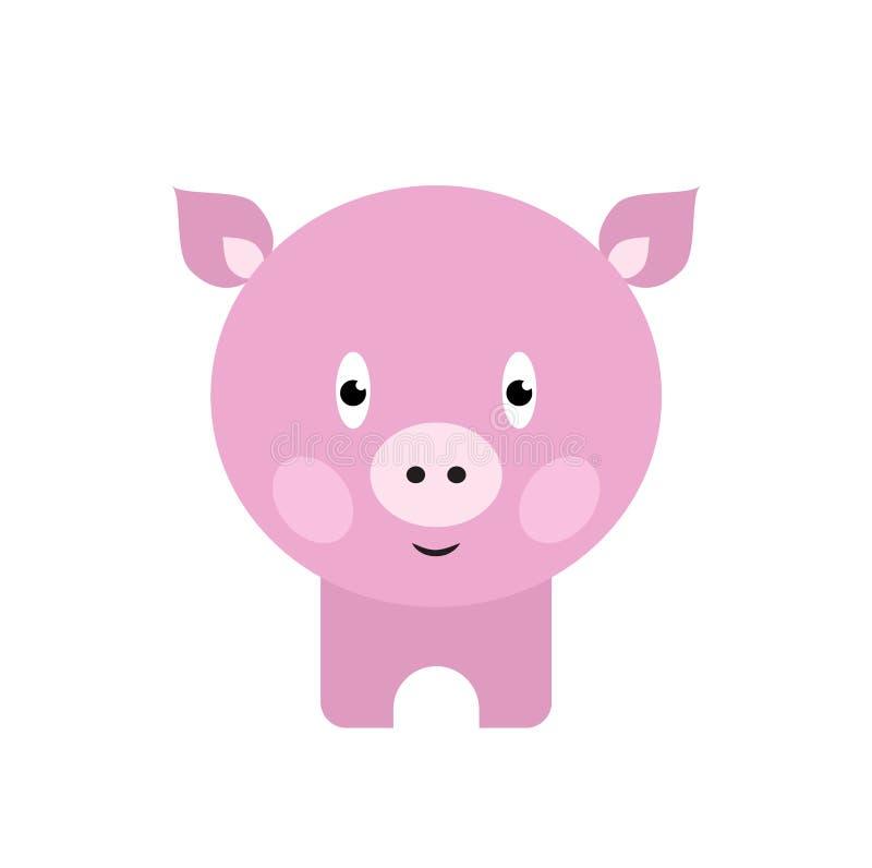 逗人喜爱的猪动画片 愉快的微笑的小的小猪 向量例证