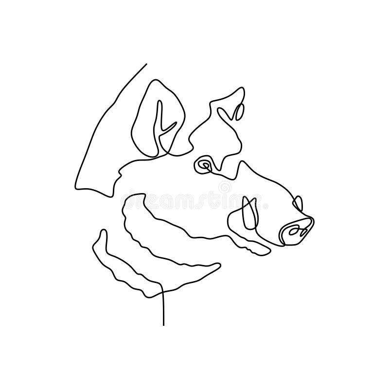 逗人喜爱的猪头连续的一条线  库存例证