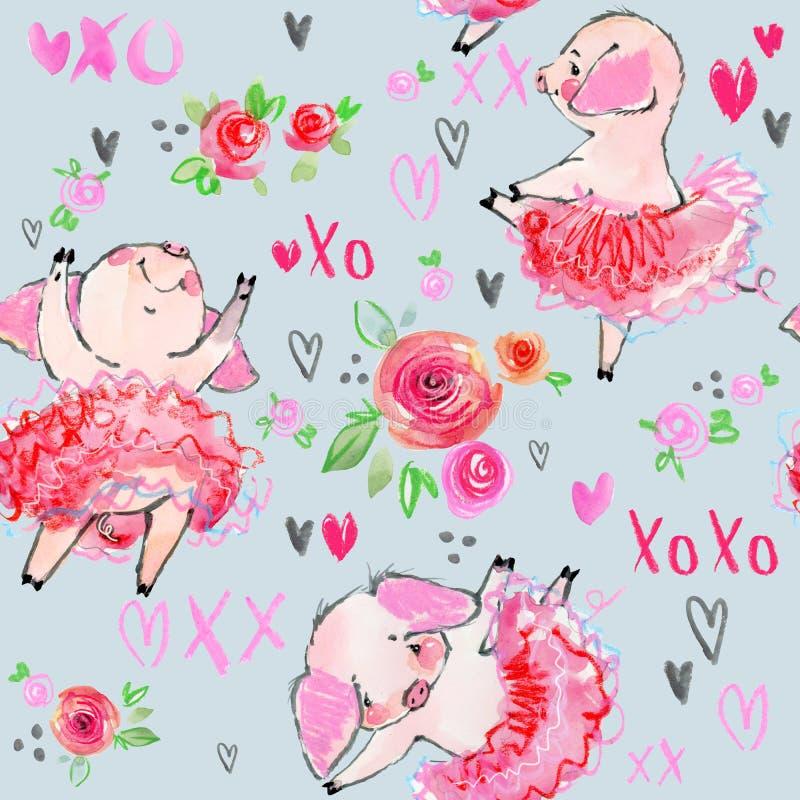 逗人喜爱的猪无缝的样式 水彩芭蕾背景 皇族释放例证