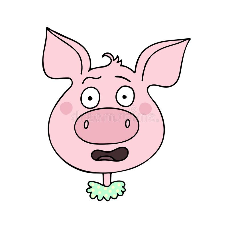 逗人喜爱的猪有恐惧表示 皇族释放例证