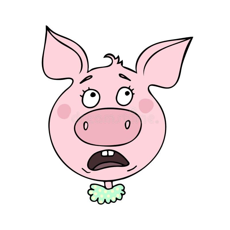 逗人喜爱的猪有恐惧表示 向量例证