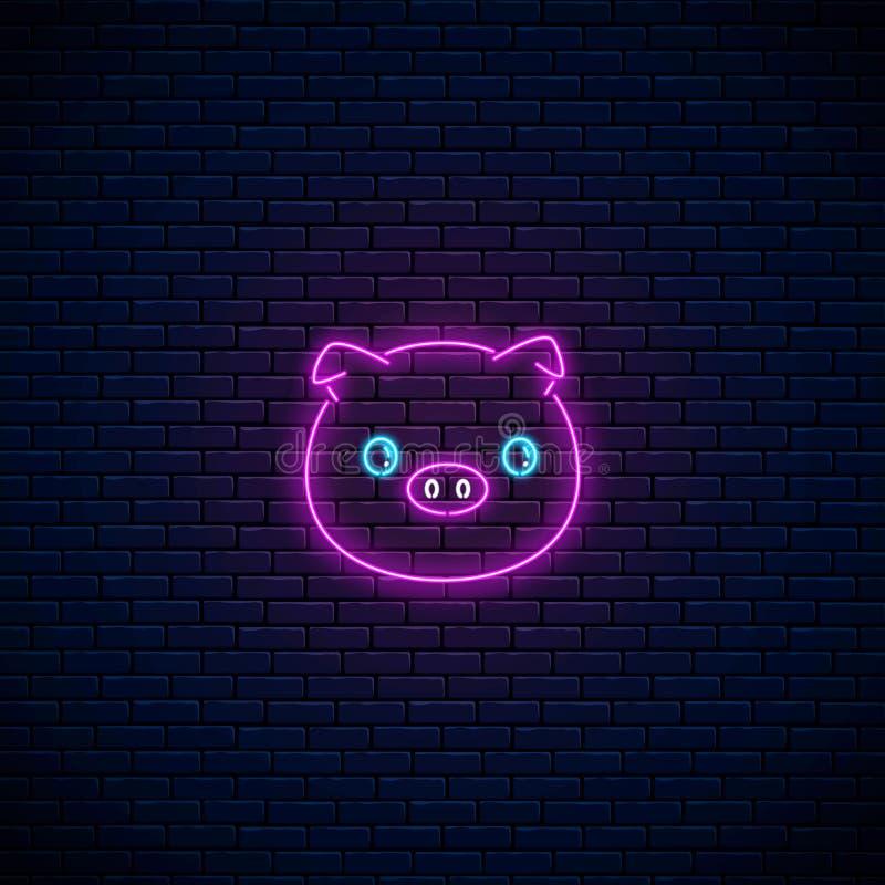 逗人喜爱的猪的发光的霓虹灯广告在kawaii样式的在黑暗的砖墙背景 动画片愉快微笑贪心 向量例证