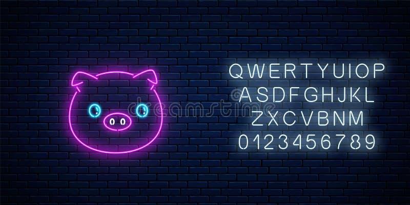 逗人喜爱的猪的发光的霓虹灯广告在kawaii样式的 动画片愉快微笑贪心在霓虹样式 皇族释放例证