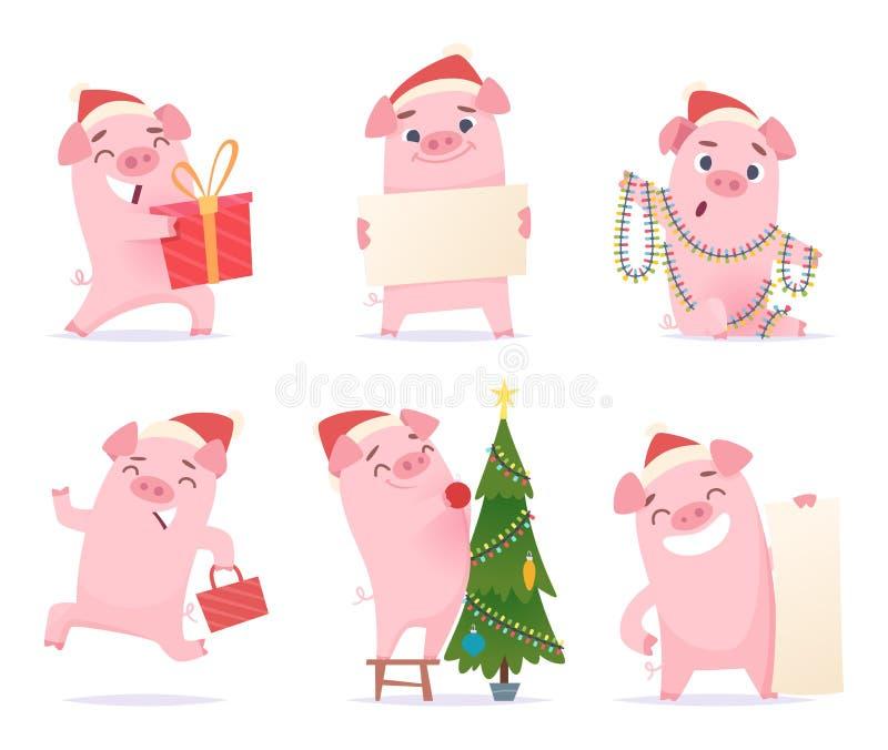 逗人喜爱的猪 新年2019年庆祝动画片吉祥人公猪小猪肉猪在行动姿势的传染媒介字符 向量例证
