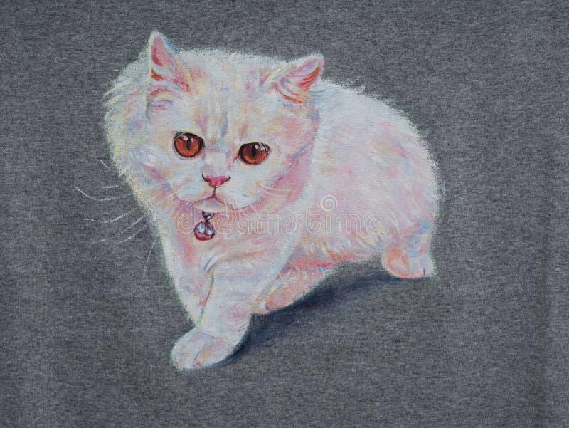 逗人喜爱的猫丙烯酸酯的绘画在织品的 库存例证