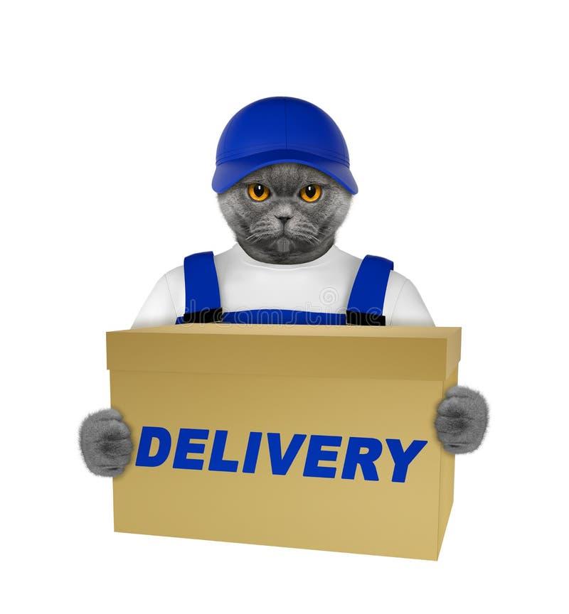 逗人喜爱的猫交付黄色岗位箱子--隔绝在白色 免版税图库摄影