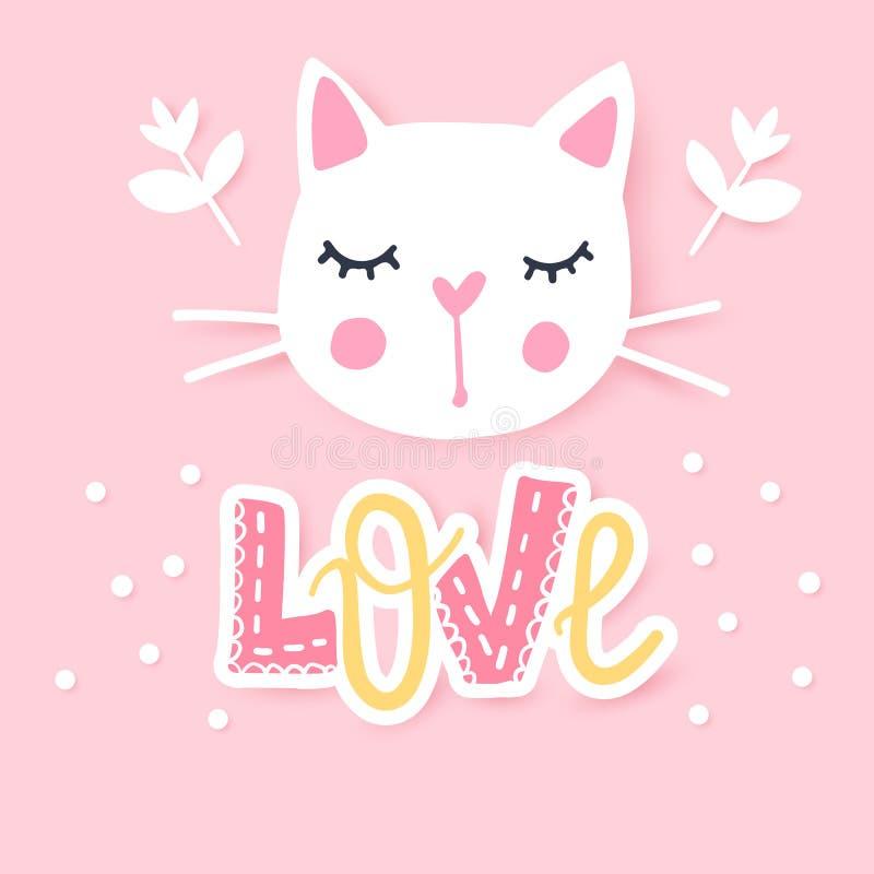 逗人喜爱的猫传染媒介例证 娘儿们小猫 时尚猫的面孔 库存图片
