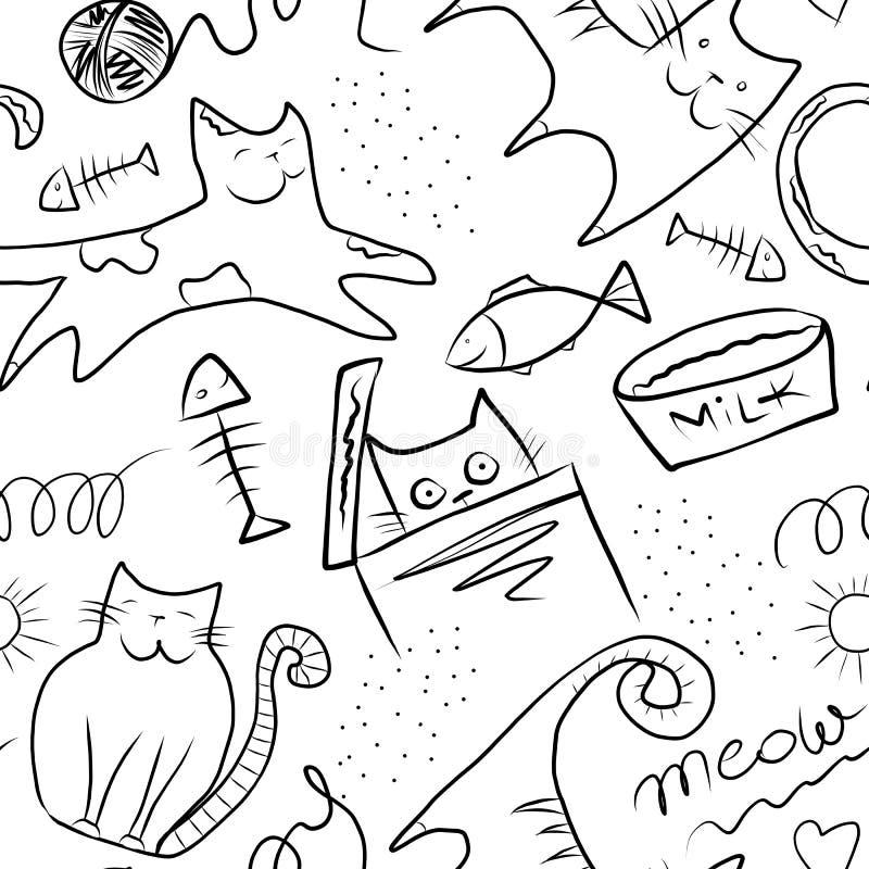 逗人喜爱的猫和鱼-与在白色背景隔绝的数字绘画的无缝的样式 库存例证