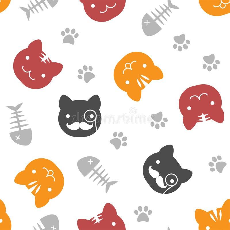 逗人喜爱的猫图解样式 免版税库存照片