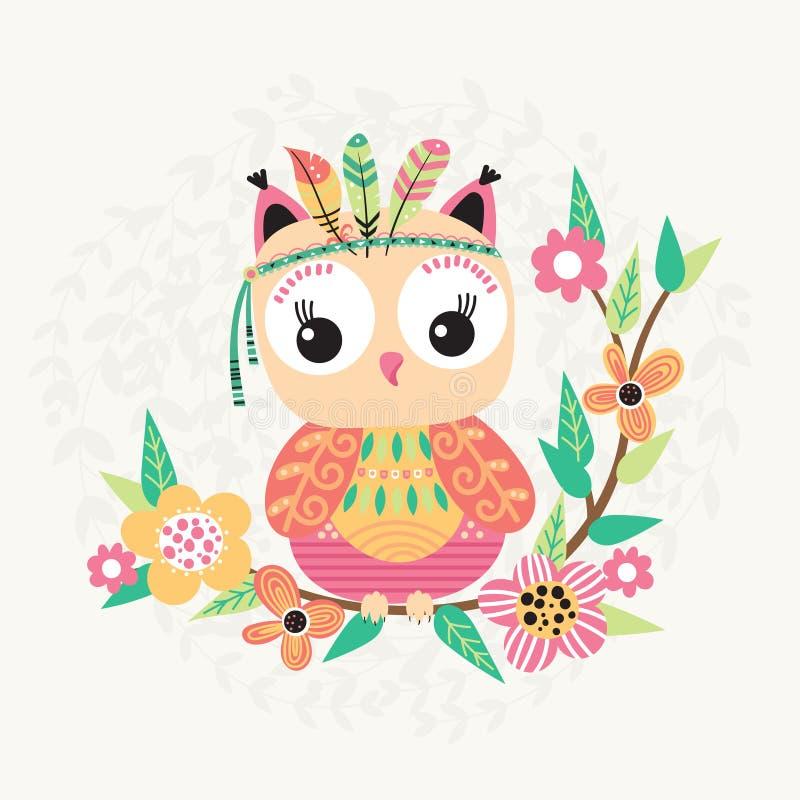 逗人喜爱的猫头鹰和花 向量例证
