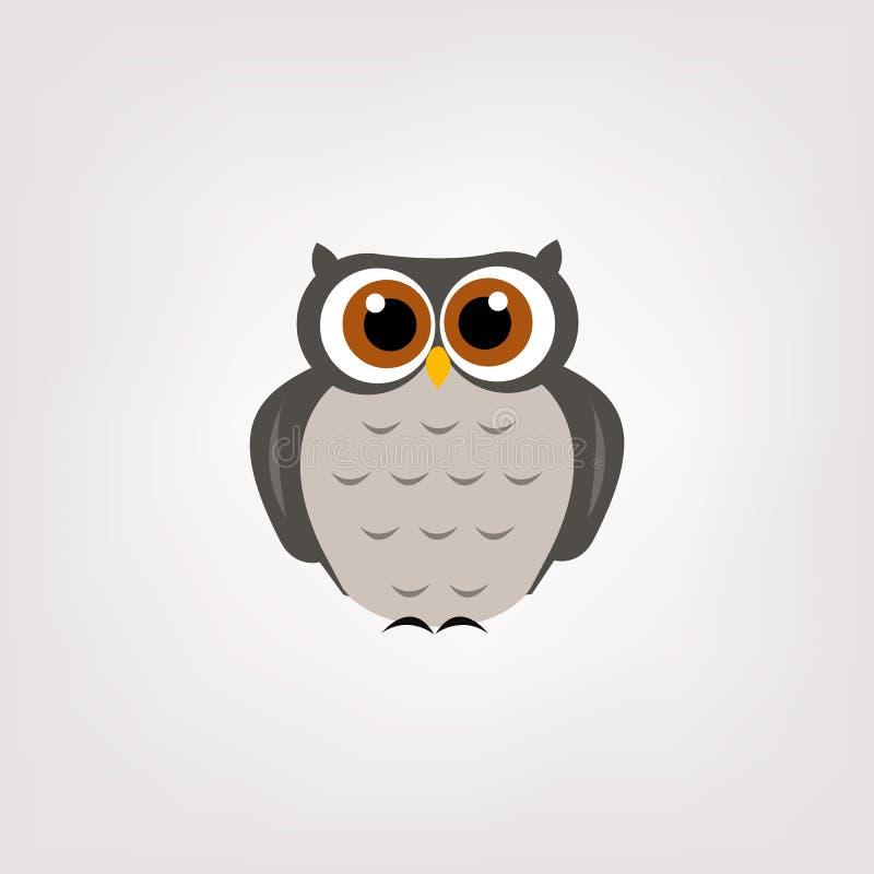 逗人喜爱的猫头鹰商标传染媒介设计 皇族释放例证