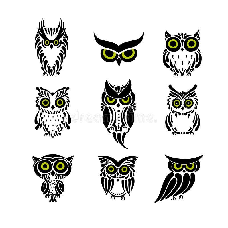 逗人喜爱的猫头鹰收藏,您的设计的黑剪影 向量例证
