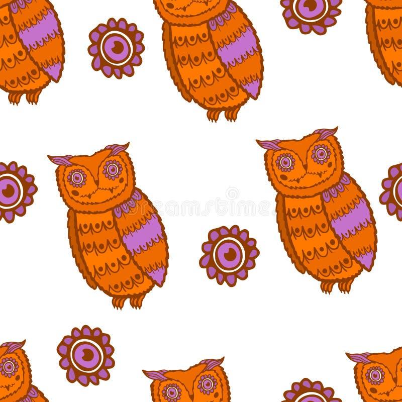 逗人喜爱的猫头鹰无缝的样式 滑稽的森林背景 动画片样式 皇族释放例证