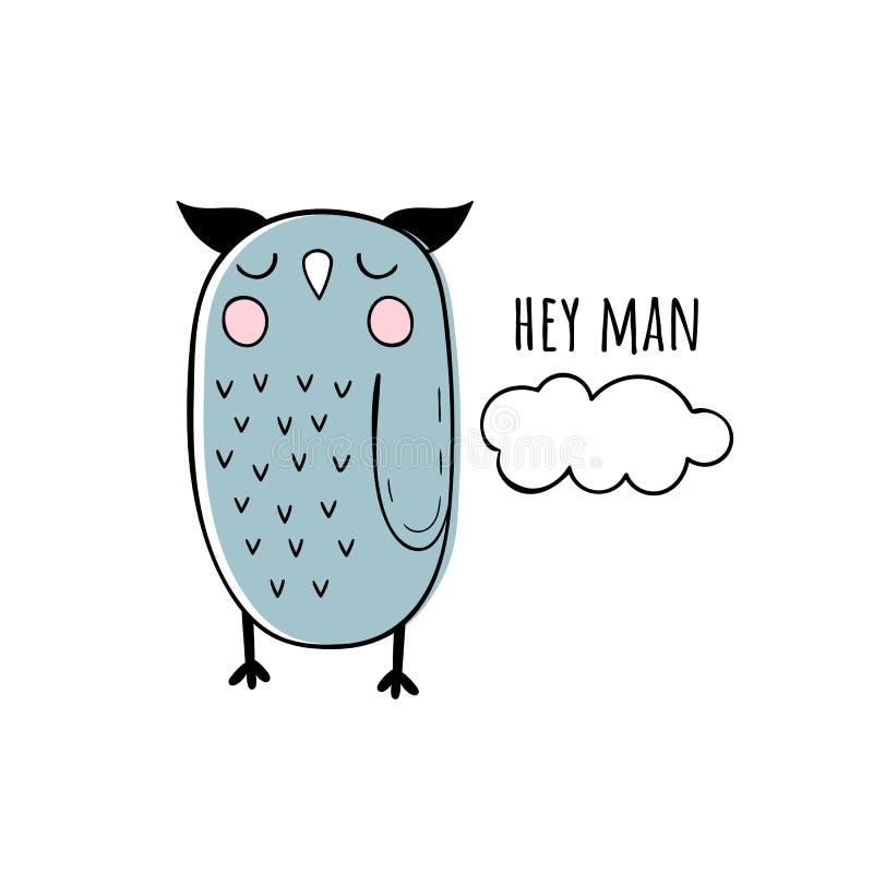 逗人喜爱的猫头鹰的传染媒介例证 斯堪的纳维亚动机 背景动画片设计例证空间文本 向量例证