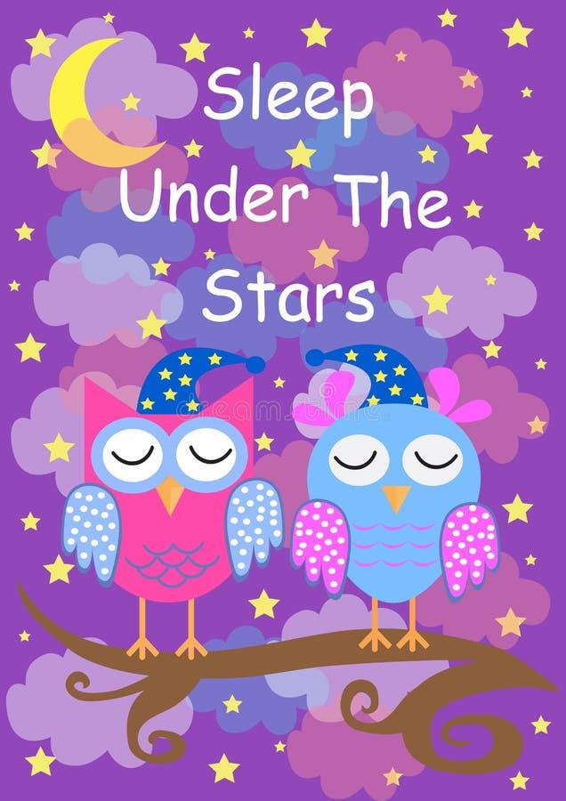 逗人喜爱的猫头鹰睡觉在星,晚安卡片下 也corel凹道例证向量 向量例证