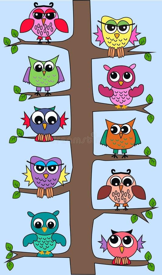 逗人喜爱的猫头鹰结构树 库存例证