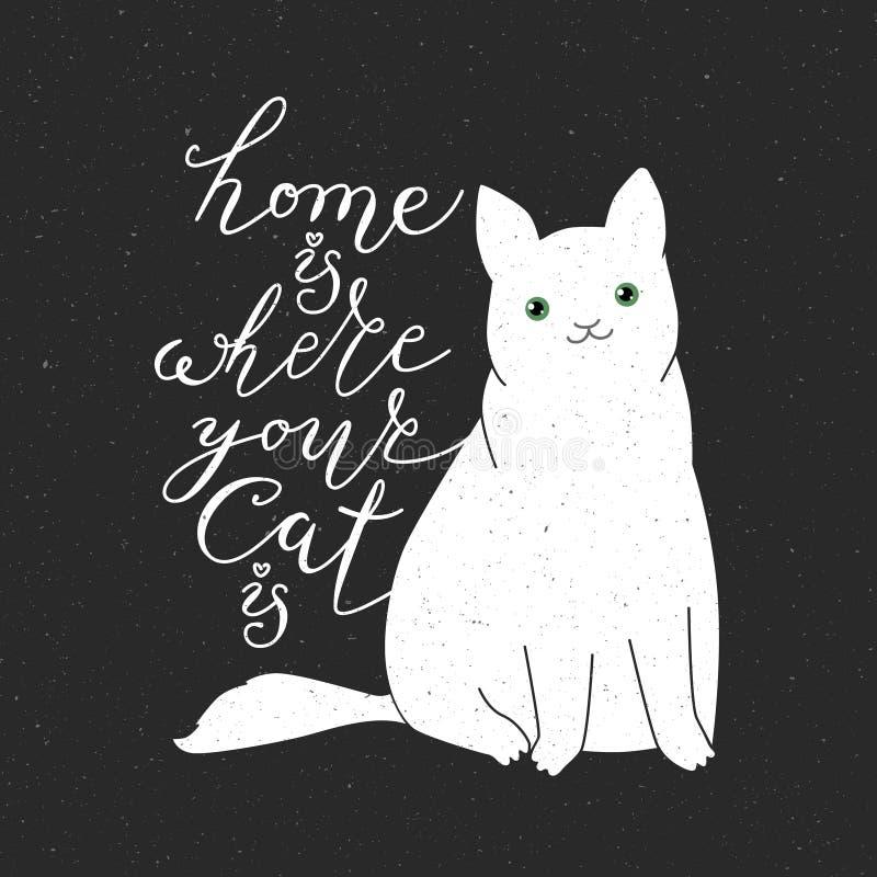 逗人喜爱的猫字符和行情 向量例证