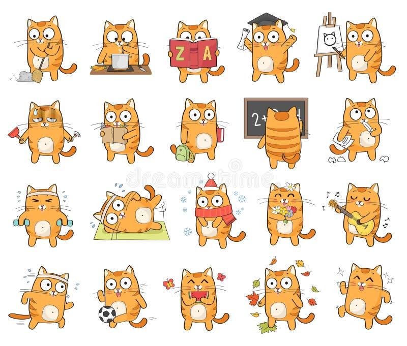 逗人喜爱的猫字符 皇族释放例证