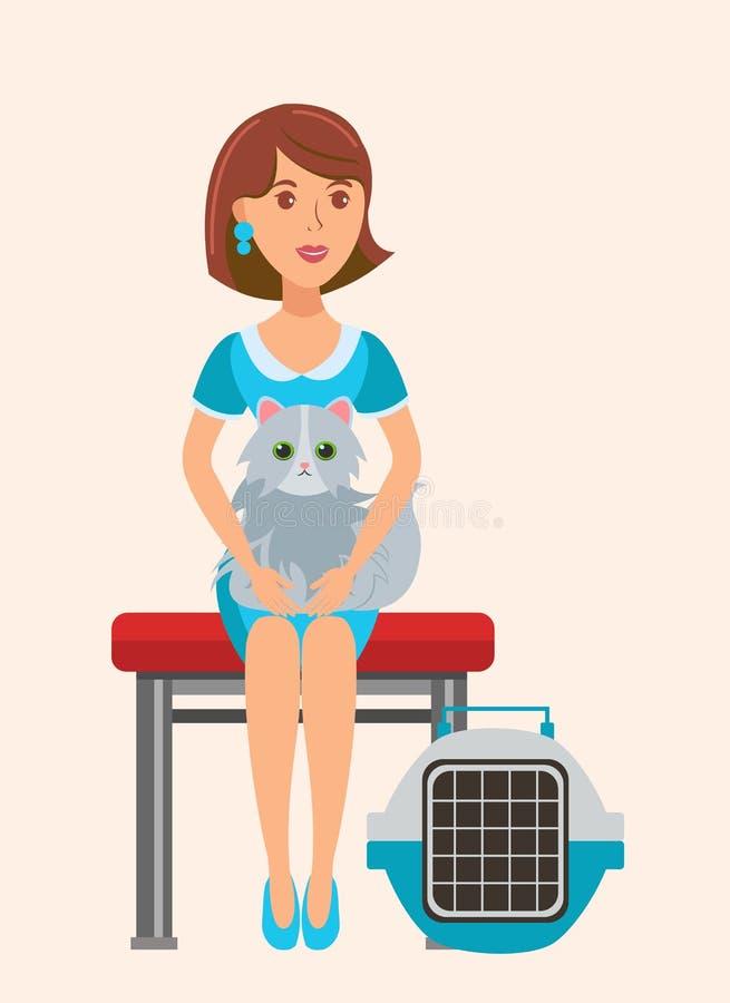 逗人喜爱的猫恋人坐长凳平的例证 向量例证