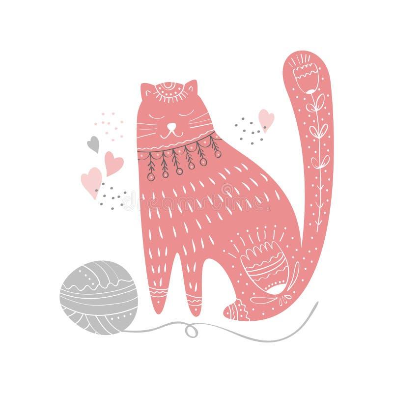 逗人喜爱的猫手拉的幼稚印度样式字符 库存例证