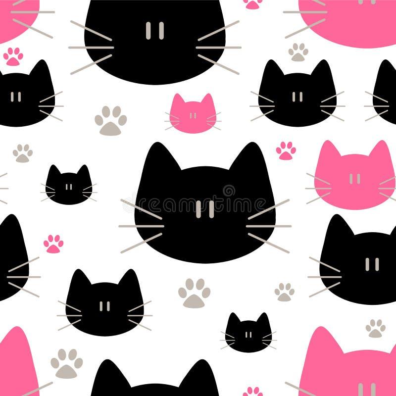 逗人喜爱的猫无缝的样式,甜全部赌注,墙纸的纹理,织品,套,网页背景,传染媒介例证 向量例证
