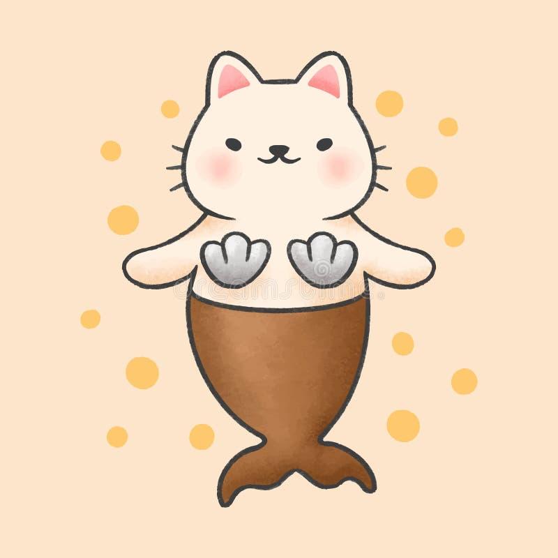 逗人喜爱的猫美人鱼动画片手拉的样式 皇族释放例证