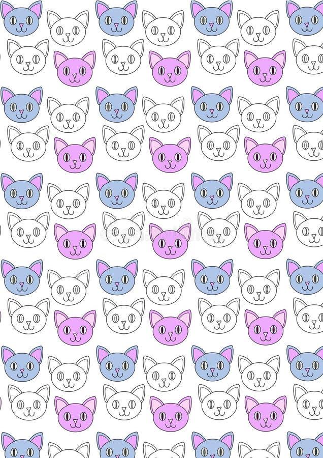 逗人喜爱的猫重复样式 皇族释放例证