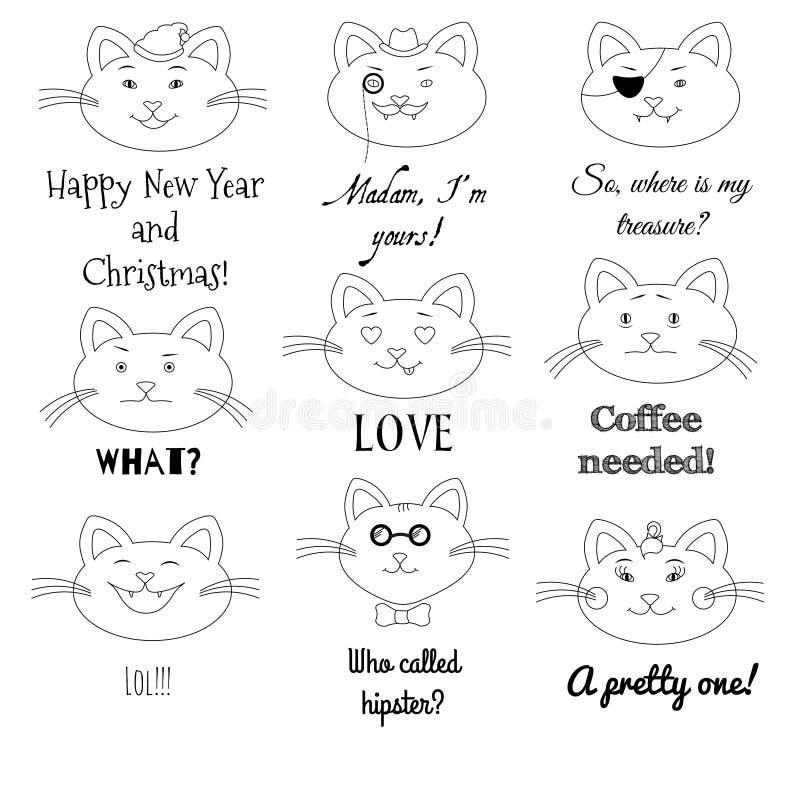 逗人喜爱的猫集合 脾气坏,海盗,女孩,圣诞老人先生,爱的,笑,行家,与文本标签的哀伤的猫例证 皇族释放例证