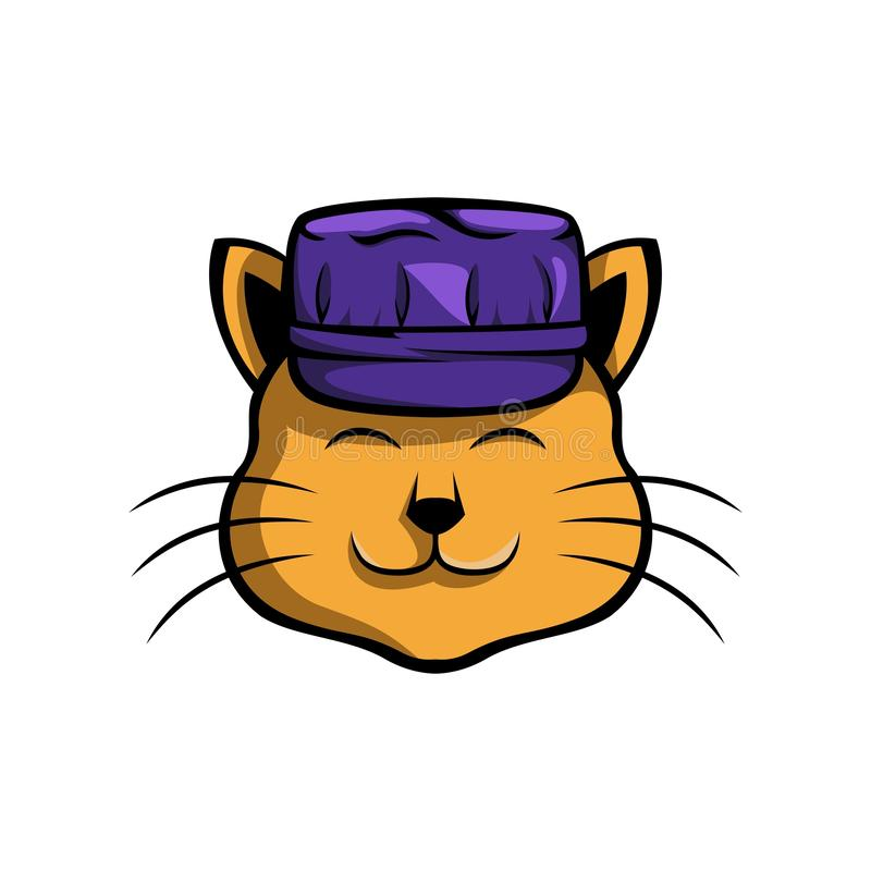 逗人喜爱的猫,戴工作者帽子,适用于各种各样的象商标与猫和工作有关逗人喜爱的猫的图片 皇族释放例证