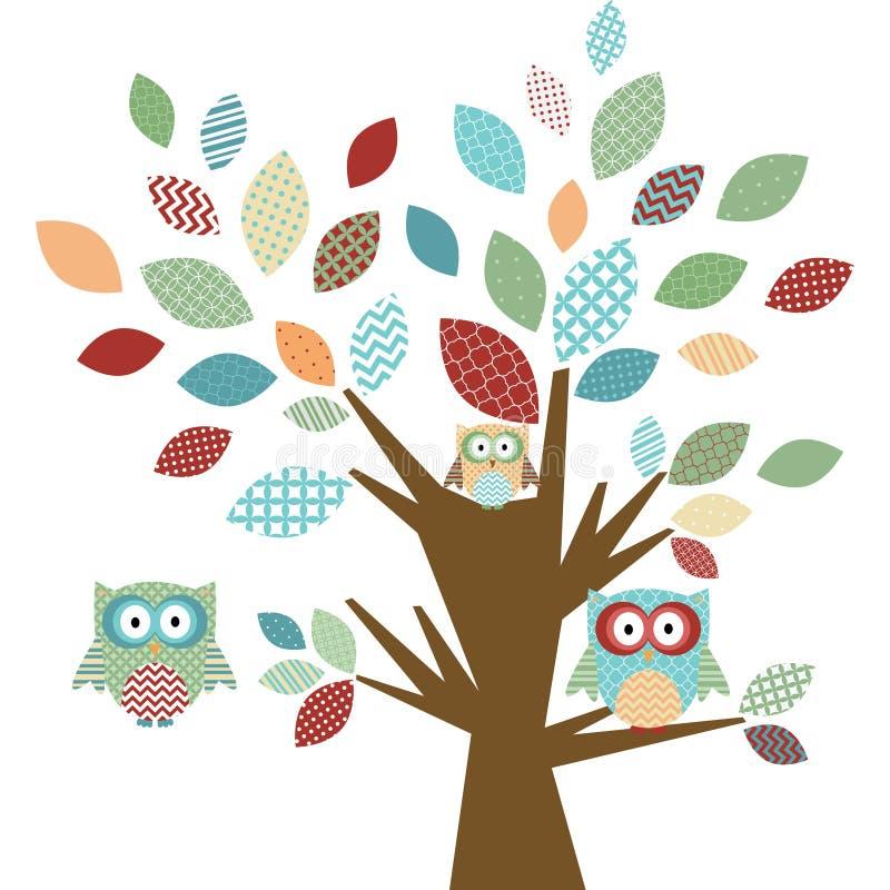 逗人喜爱的猫头鹰和树 皇族释放例证