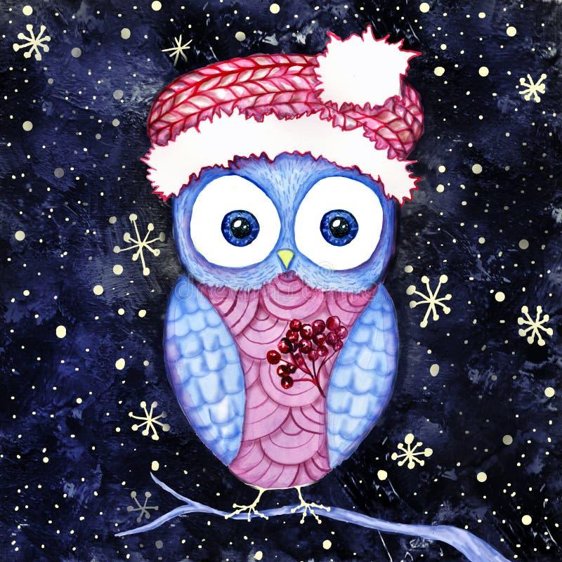 逗人喜爱的猫头鹰圣诞老人帽子和圣诞节霍莉冬天夜 水彩和数字式绘画 库存照片