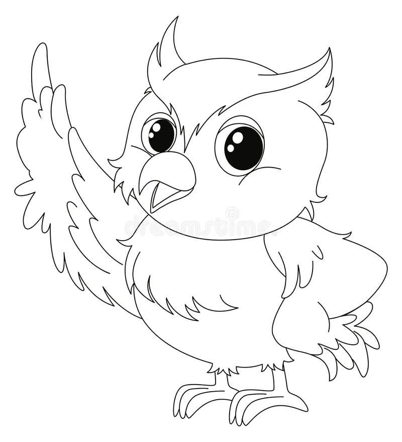 逗人喜爱的猫头鹰的动物概述 向量例证