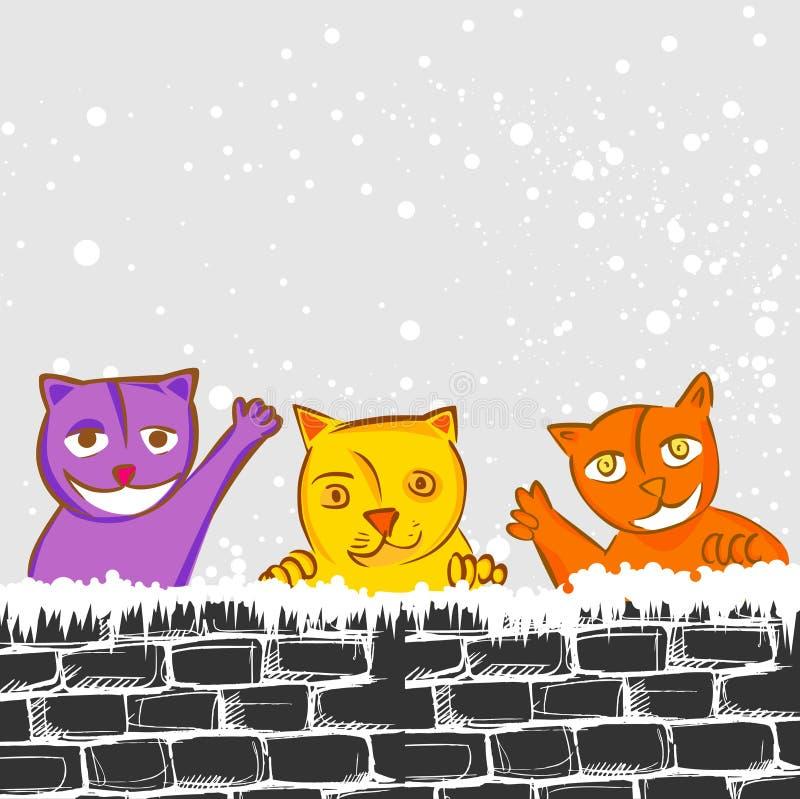 逗人喜爱的猫 向量例证