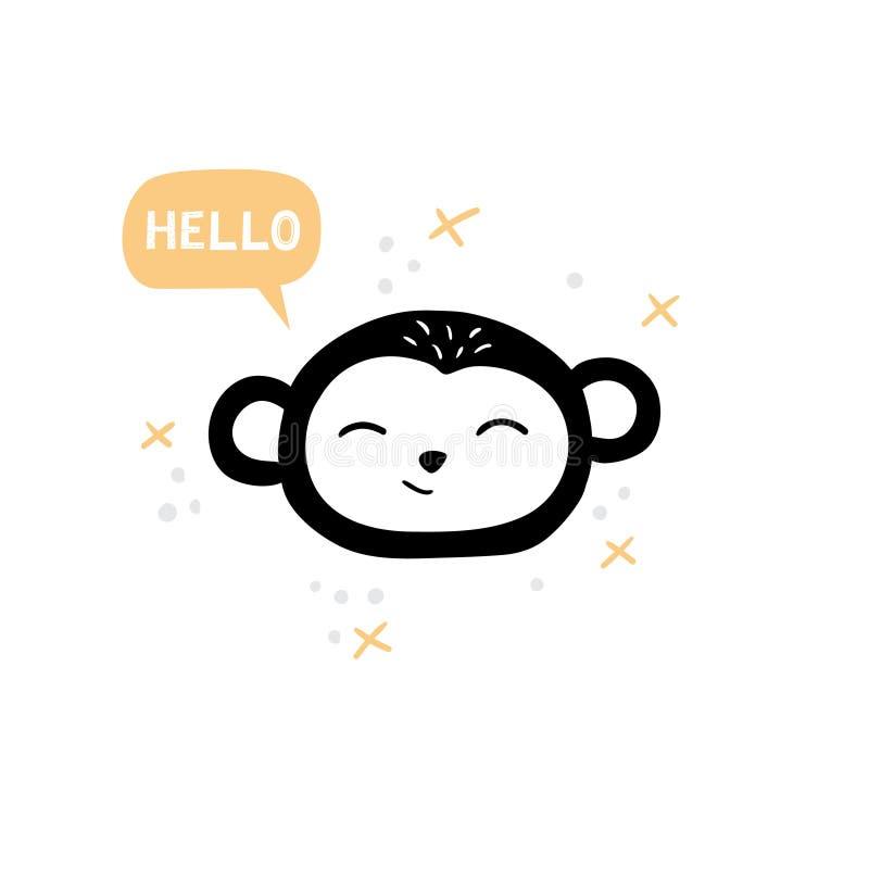 逗人喜爱的猴子面孔 与文本的手拉的动画片例证 库存例证