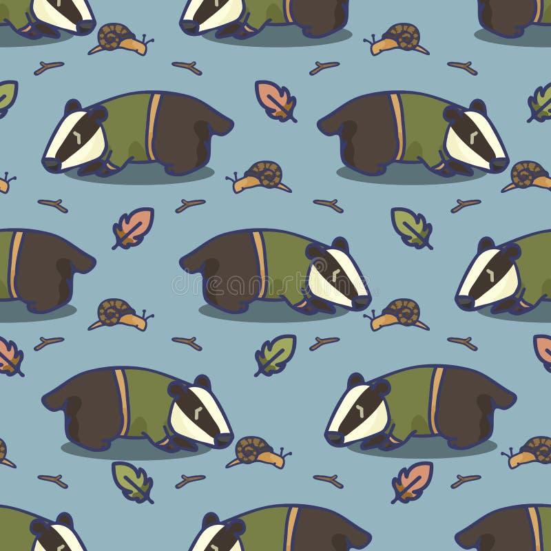 逗人喜爱的獾动画片无缝的传染媒介样式 手拉的森林野生生物瓦片 皇族释放例证
