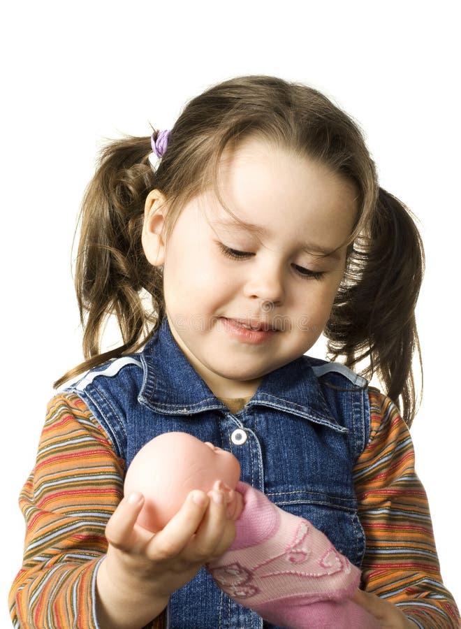 逗人喜爱的玩偶女孩一点 免版税图库摄影