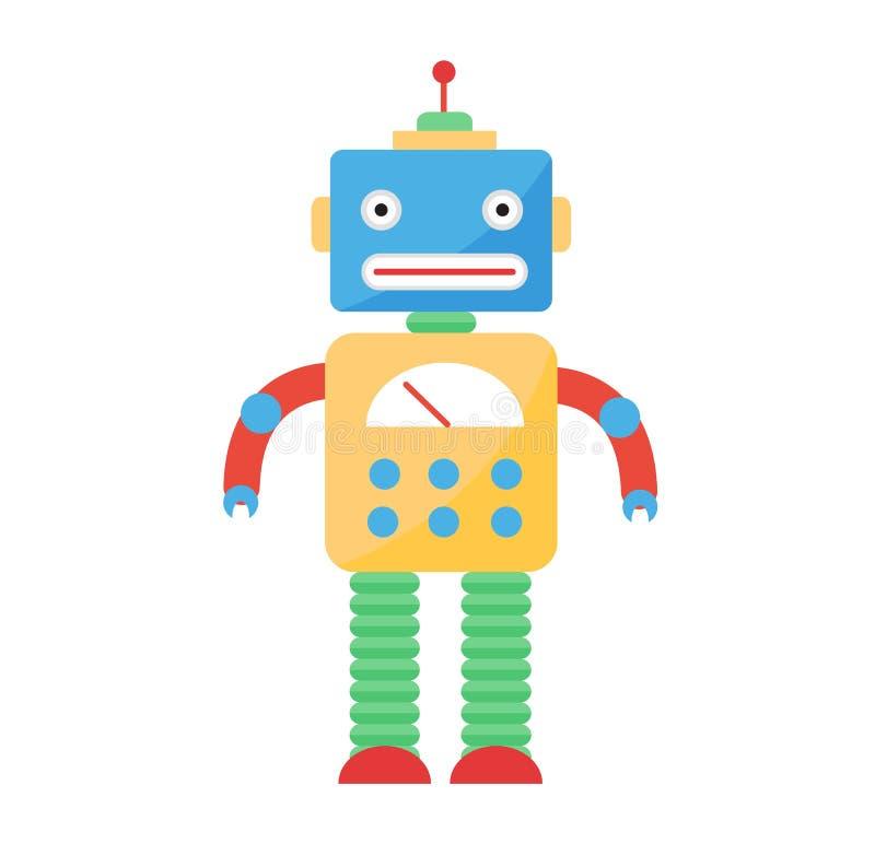 逗人喜爱的玩具机器人传染媒介字符 向量例证