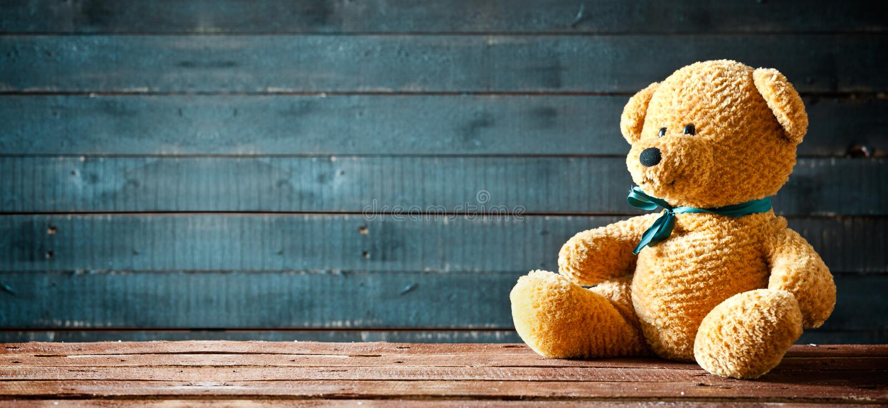 逗人喜爱的玩具熊全景 免版税图库摄影