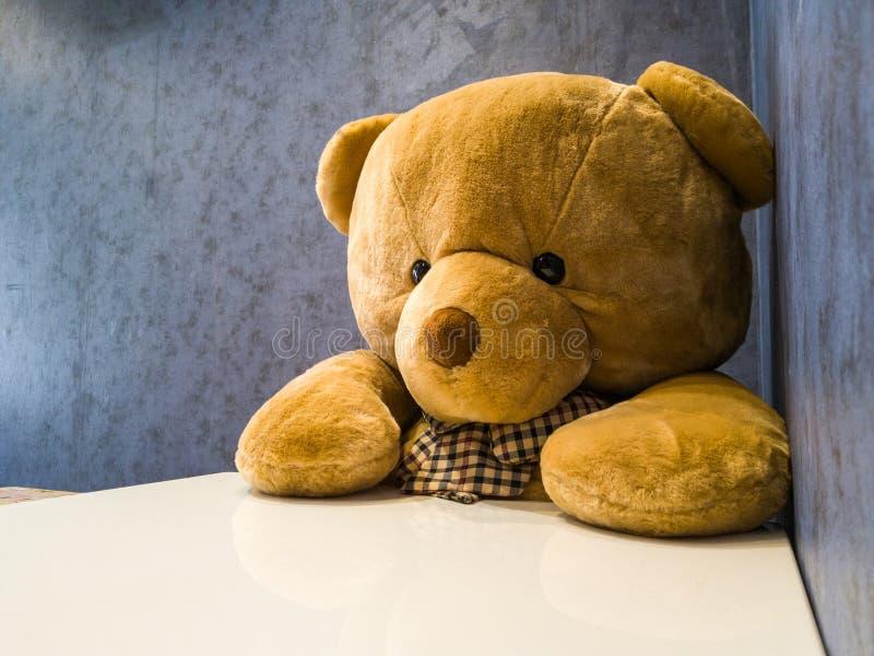 逗人喜爱的玩具熊坐在餐桌前面的椅子 做它似乎象等待喜爱的盘 免版税图库摄影