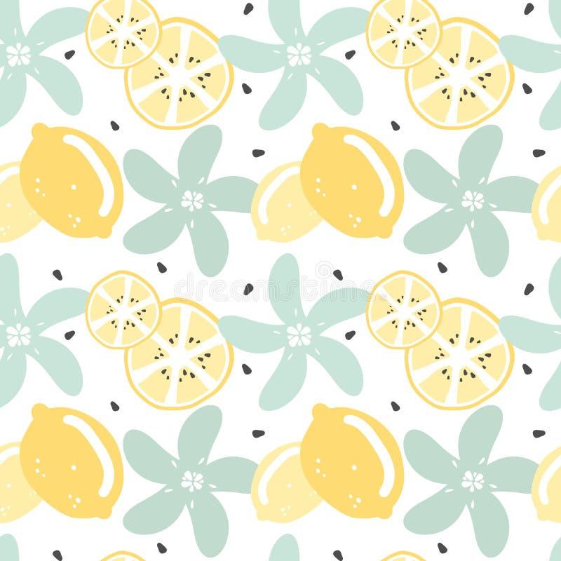 逗人喜爱的现代夏天无缝的传染媒介样式背景例证用柠檬、柠檬切片、种子和花 皇族释放例证