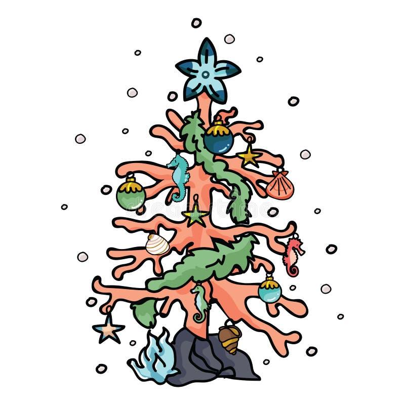 逗人喜爱的珊瑚礁圣诞树动画片传染媒介例证主题集合 手拉的被隔绝的海星装饰元素 库存例证