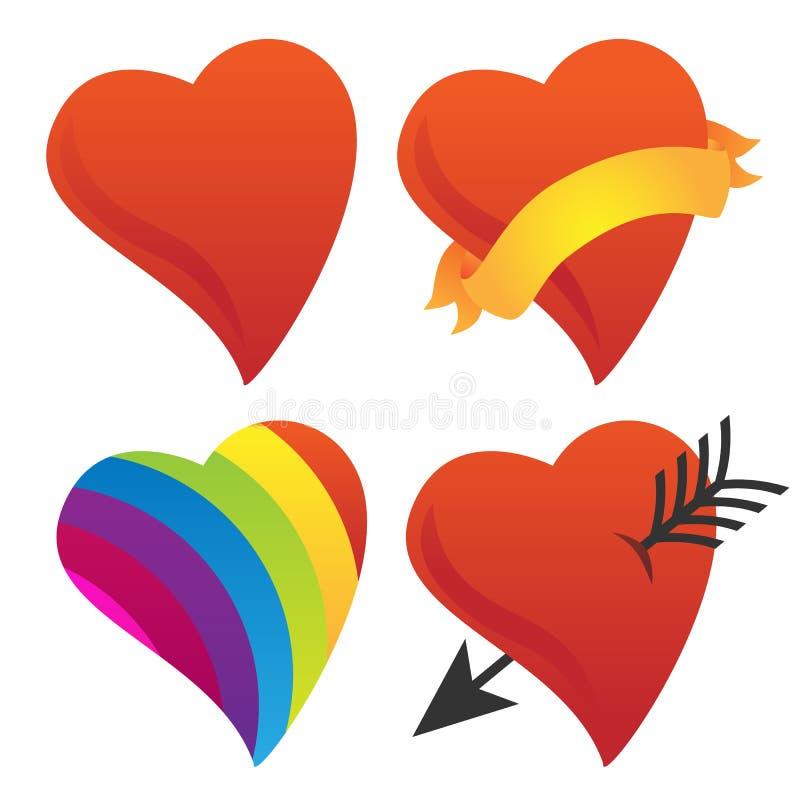 逗人喜爱的甜心,丘比特心脏,华伦泰心脏,彩虹心脏传染媒介小组 库存例证