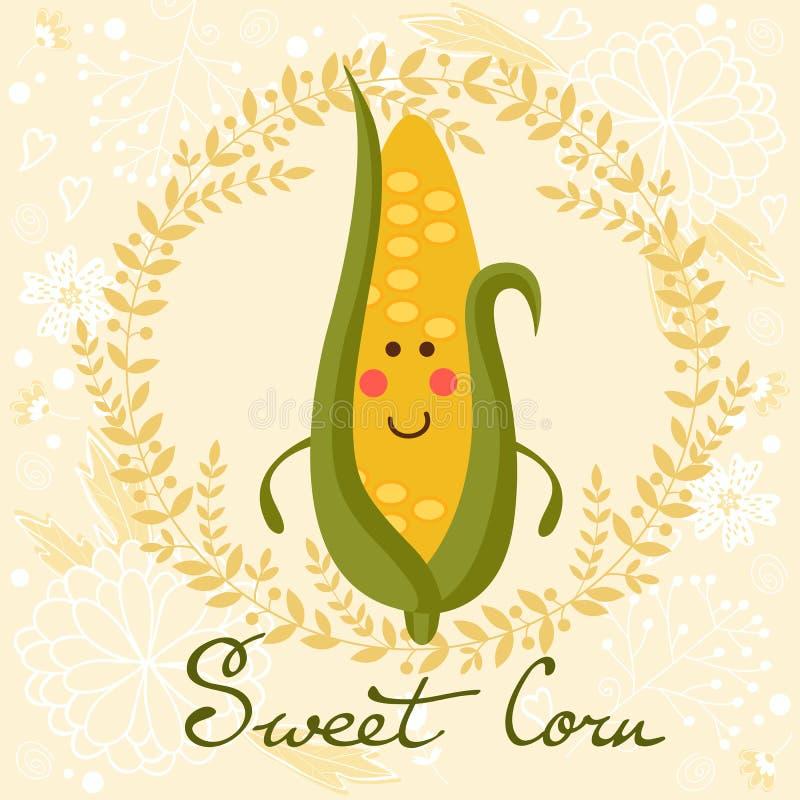 逗人喜爱的甜玉米字符例证 向量例证