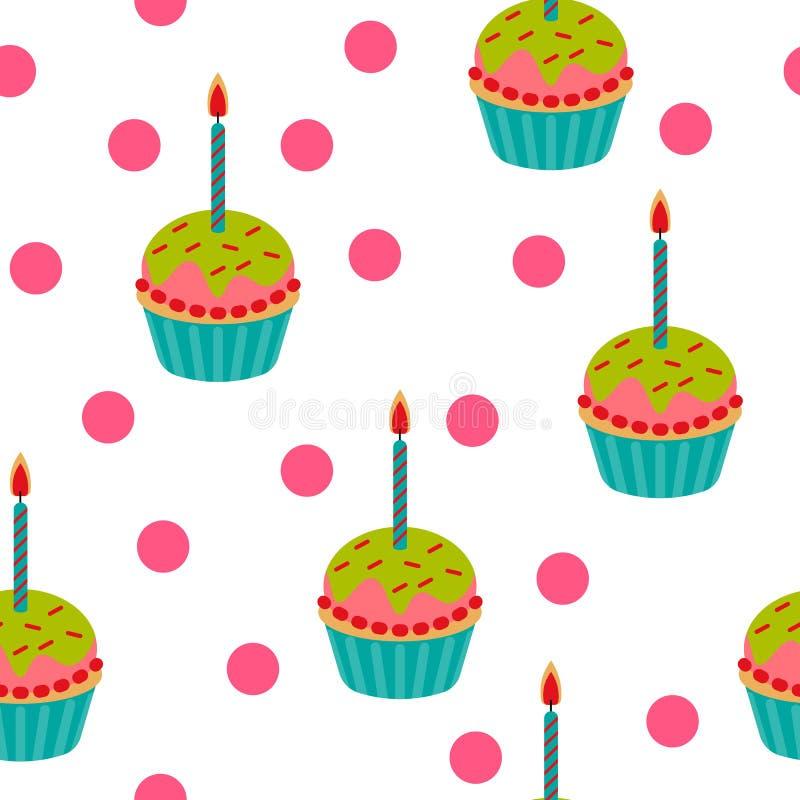逗人喜爱的生日杯形蛋糕无缝的样式 也corel凹道例证向量 皇族释放例证