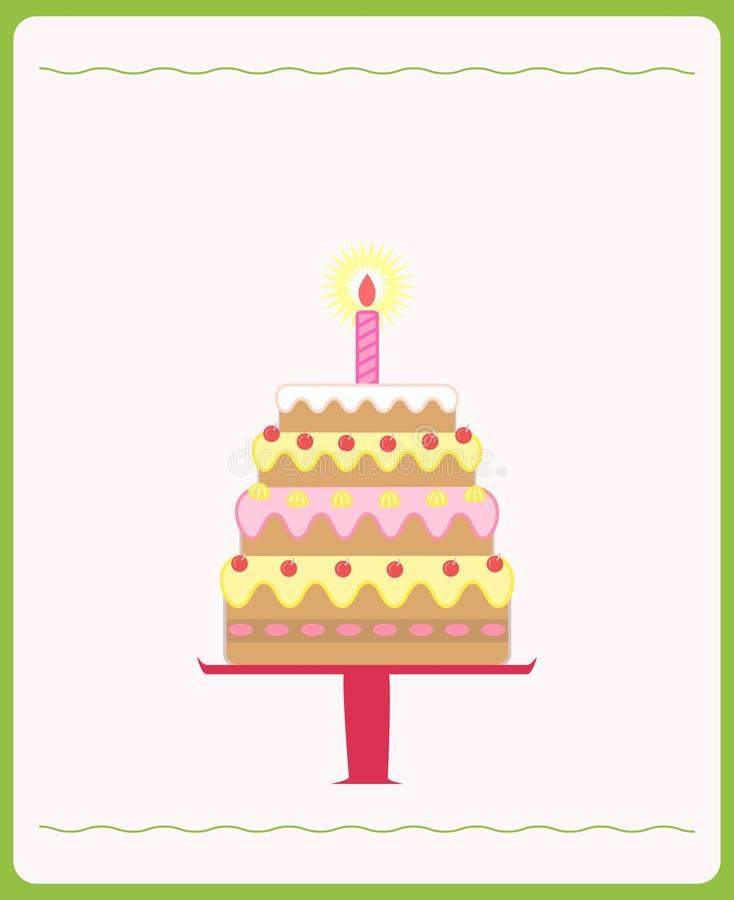 逗人喜爱的生日蛋糕 向量例证