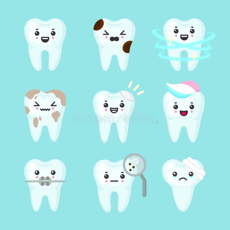 逗人喜爱的用不同的情感的牙五颜六色的传染媒介集合 不同的牙情况 库存例证